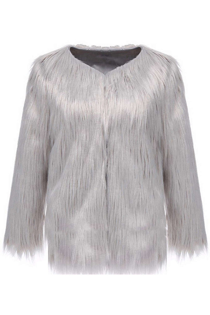 Iyasson Women's Collarless Faux Fur Coat