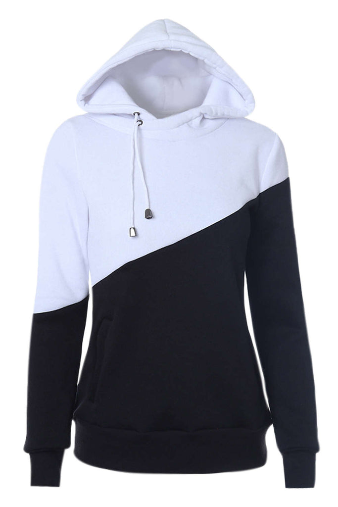Iyasson Color-Block Design Hooded Hoodie