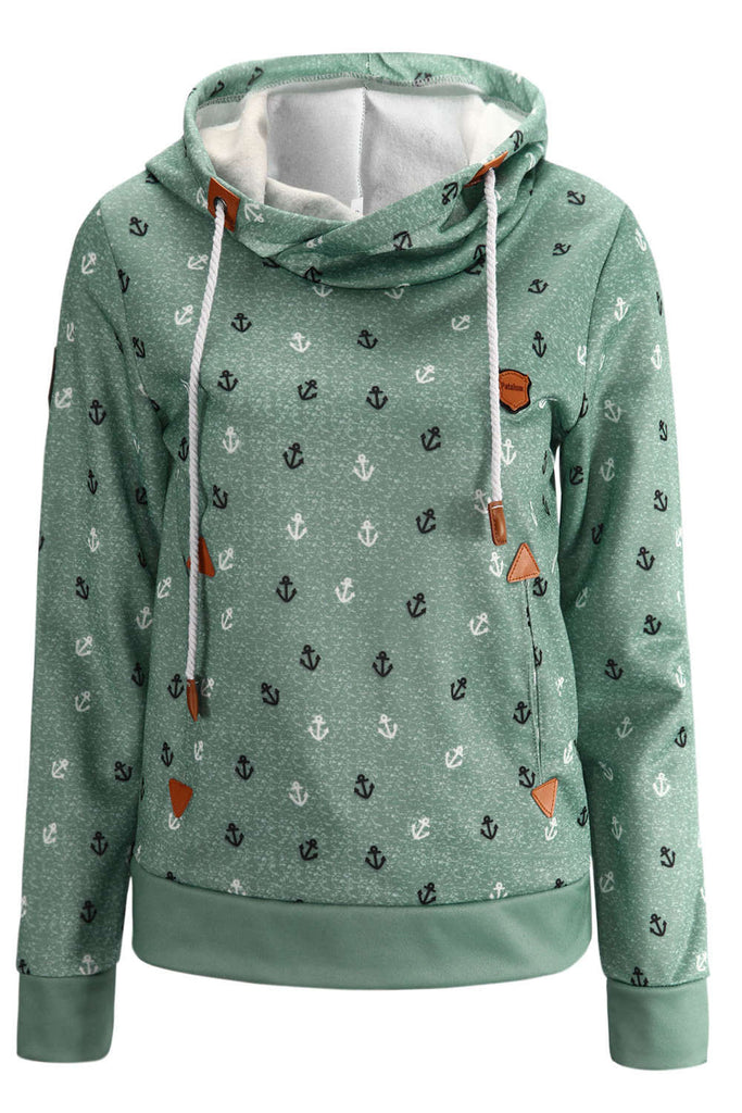 Iyasson Womens Anchor Pattern Cotton Hoodie