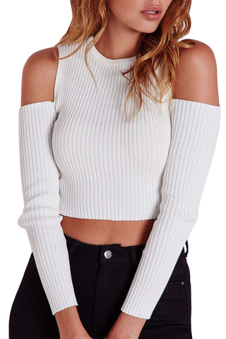 Iyasson White Cold-shoulder Sweater