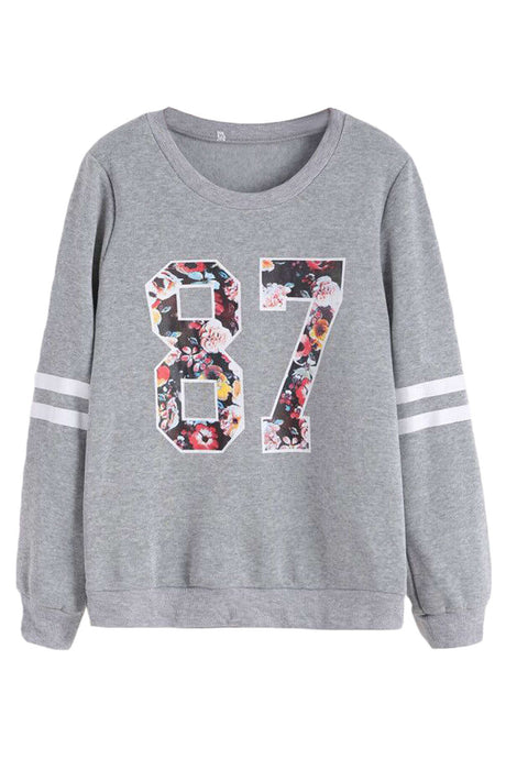 Iyasson Front Print Long Sleeve Sweater