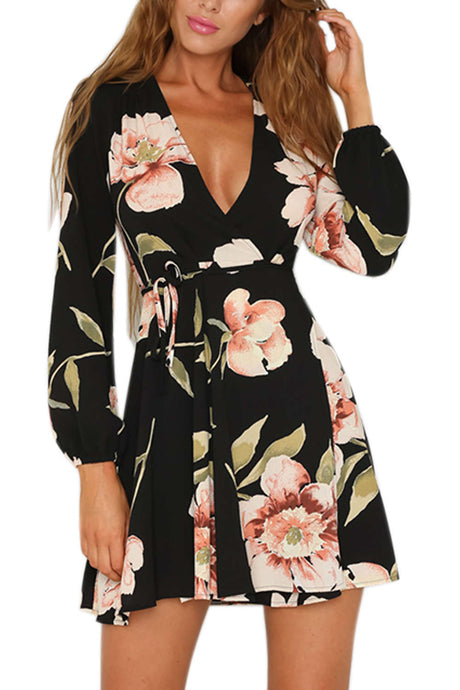Iyasson Black Floral Printing Wrap Dress