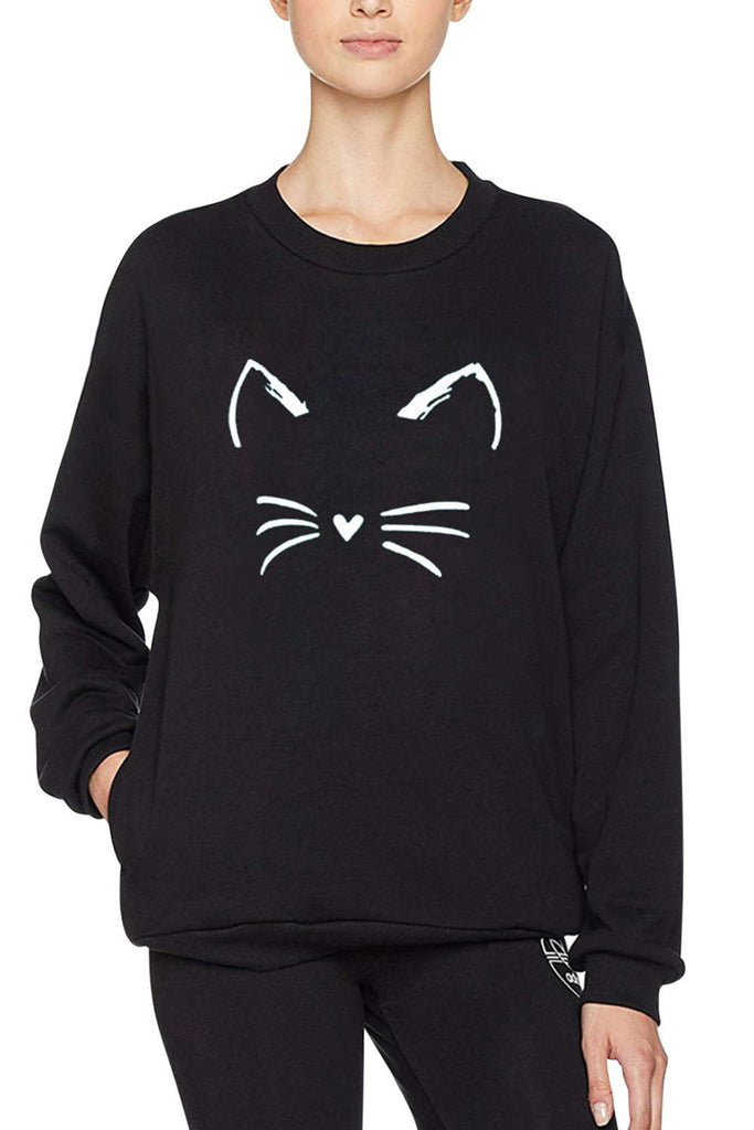 Iyasson Cat Print Sweater In Black