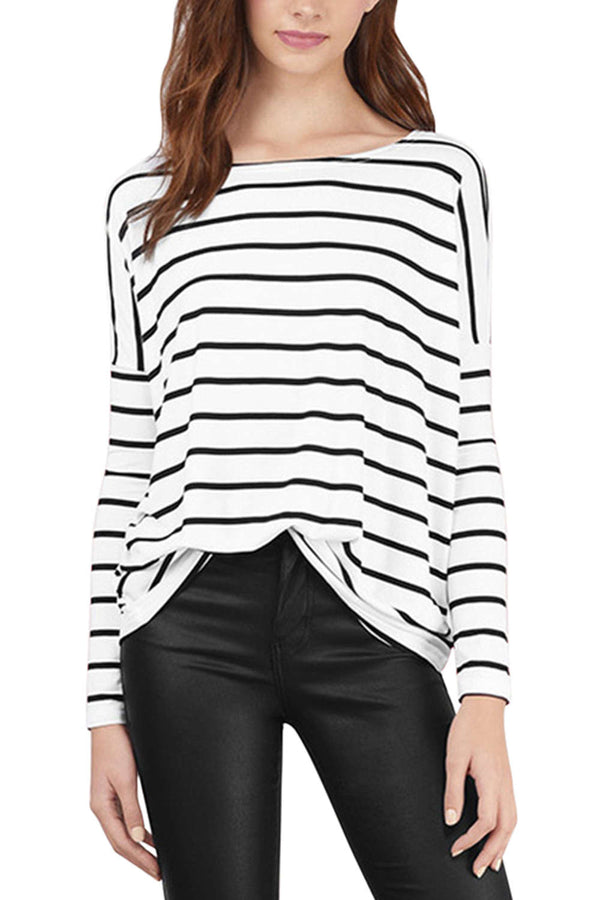 Iyasson Striped Dropped Shoulders T-shirt