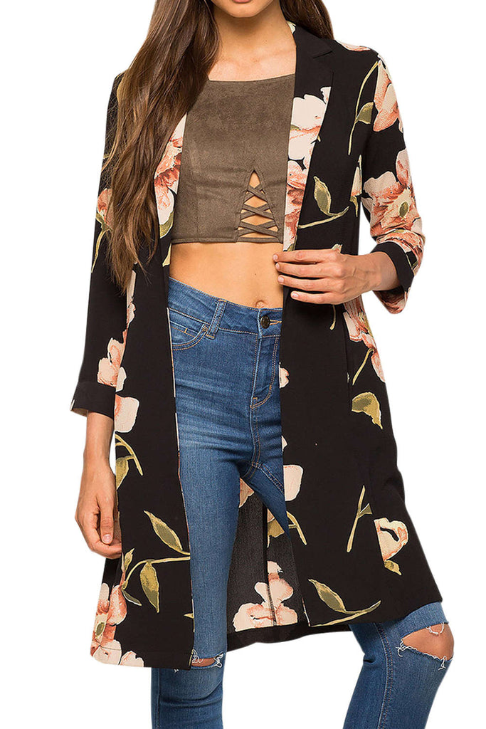 Iyasson Floral Print Long Sleeve Trench Coat