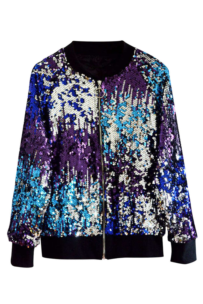 Iyasson Women's Colorful Sequined Baseball Jacket