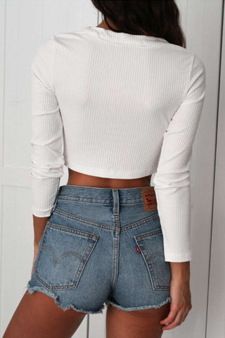 Iyasson Front Cross Cropped Sweater