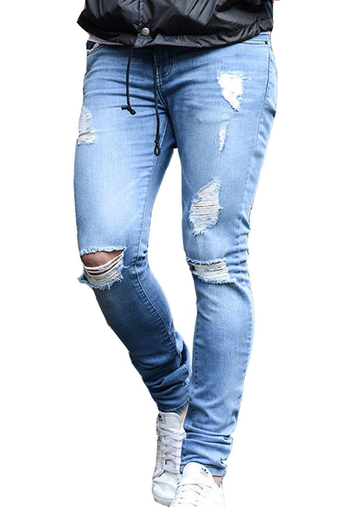 Iyasson Men's Front Ripped Jeans