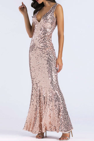Iyasson Golden Deep V Neck Sequined Gown