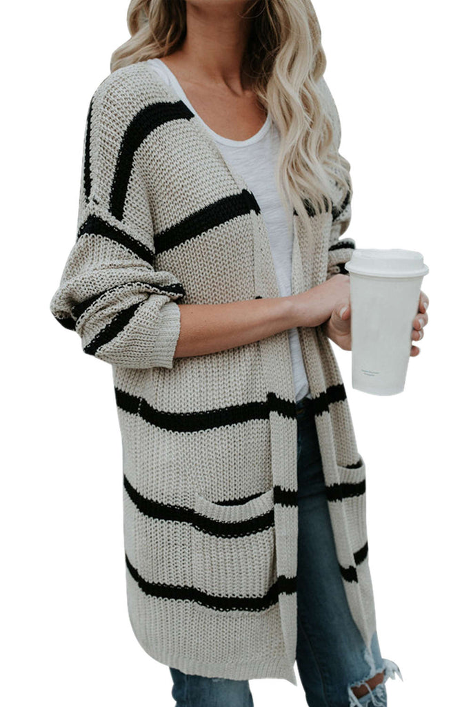 Iyasson Striped Long Sleeve Loose Cardigan