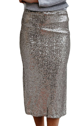 Iyasson Side-Slit Sequined Skirt