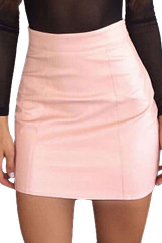 Iyasson Solid Allover Leather Mini Skirt
