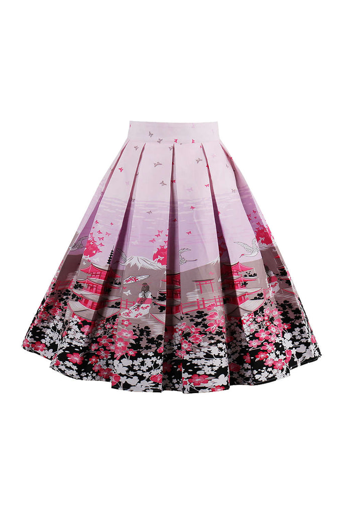 Iyasson Print Pleated Midi Skirt