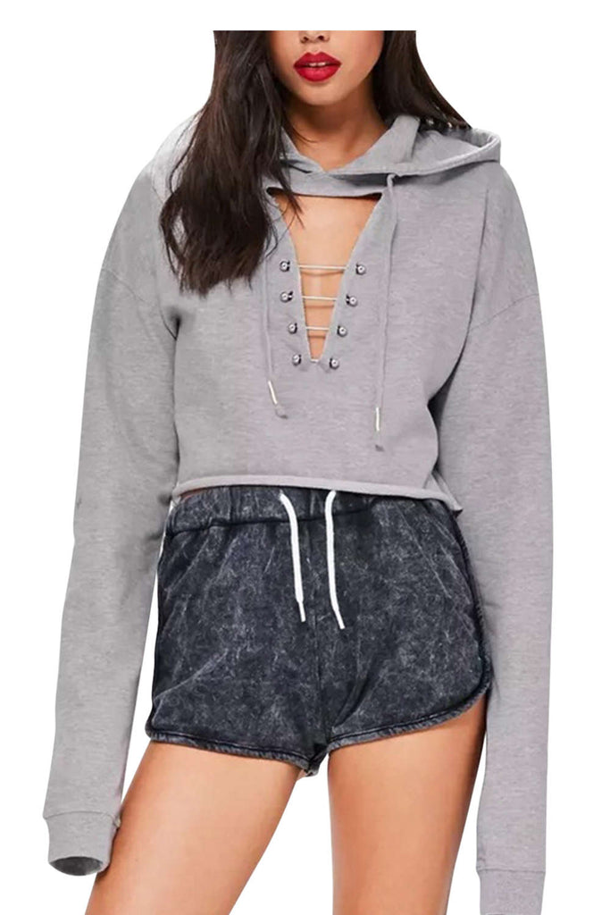 Iyasson Lace-up Cropped hoodie