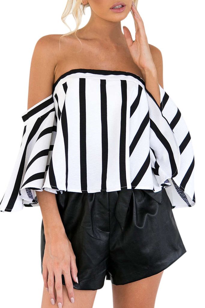 Iyasson Striped Off-the-shoulder Silhouette Top
