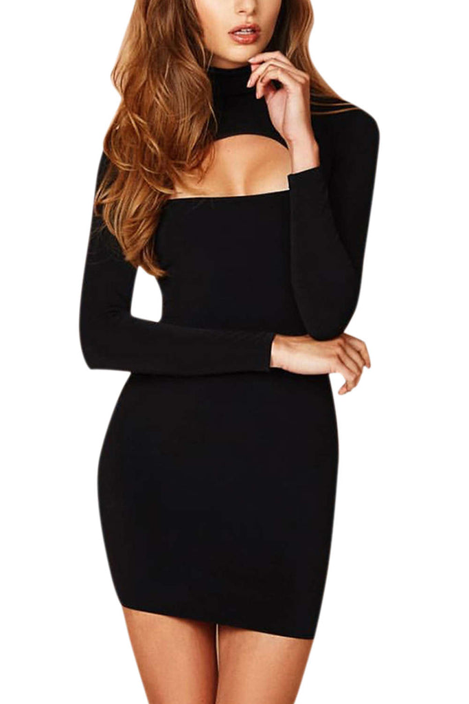 Iyasson Women Long Sleeve Chest Hollow Party Bodycon Dress