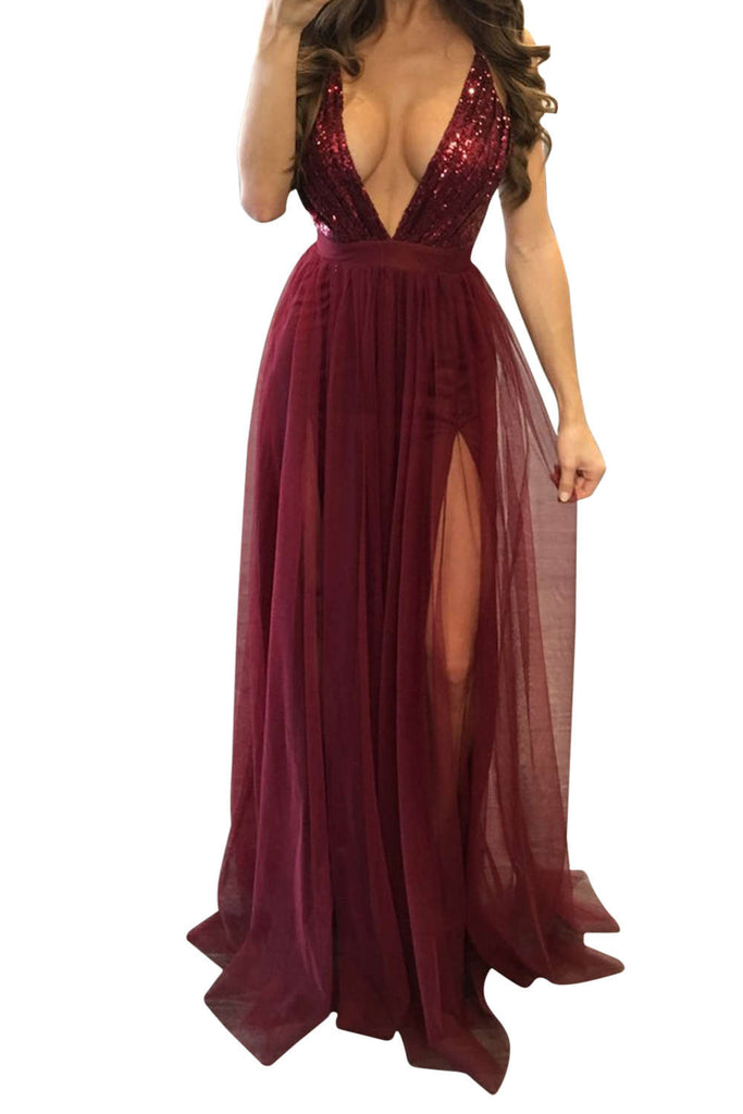 Iyasson Sexy Sequined Sheer Organdy Front Slit Maxi Dress