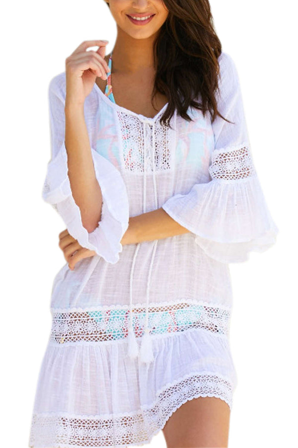 Iyasson Loose Bell-Sleeve Lace Trim Cover Up