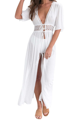Iyasson White Crochet Trim Maxi Cover Up