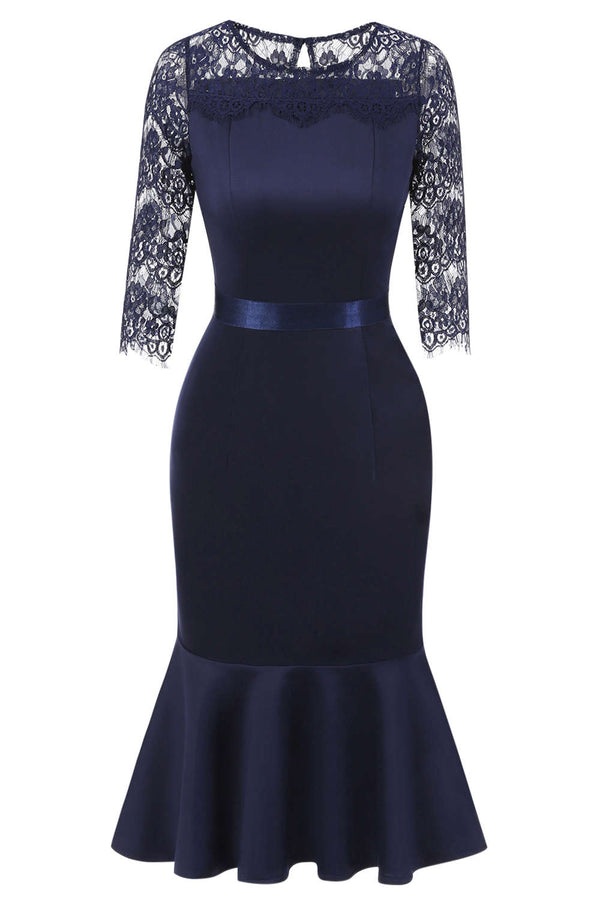 Iyasson Dark Blue Half Sleeve Lace Splicing Bodycon Ruffled Dress