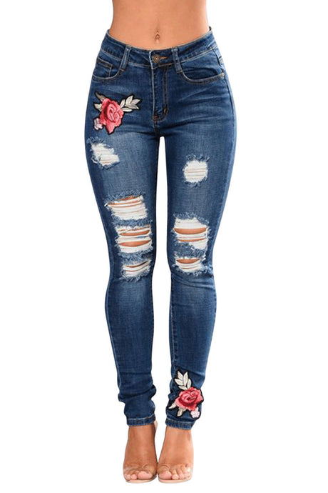 Iyasson Rose Embroidered Ripped Skinny Jeans