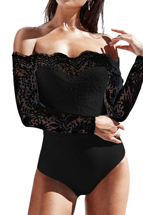 Iyasson Off Shoulder Eyelash Lace Crochet Slinky Bodysuit