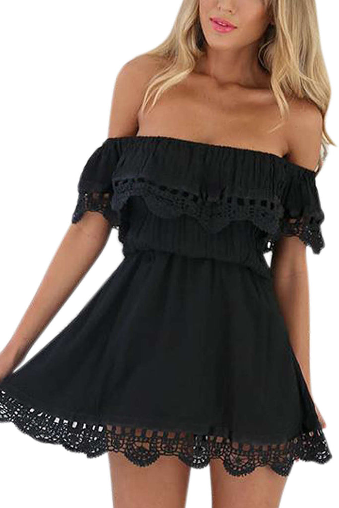 Iyasson Lace Off Shoulder Mini Casual Dress