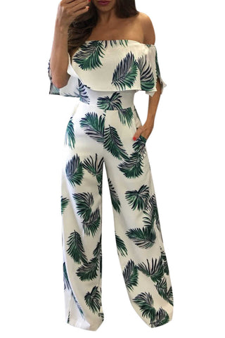 Iyasson Fashion Print Frilled Off Shoulder Flared Jumpsuit