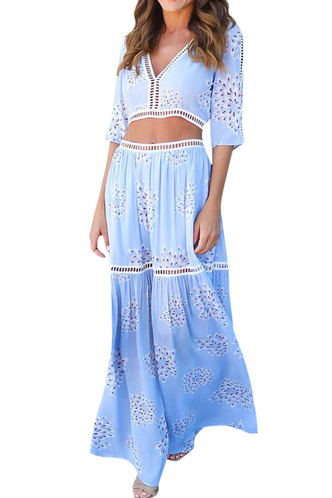 Iyasson Printed Beach Summer Two Piece Maxi Dress