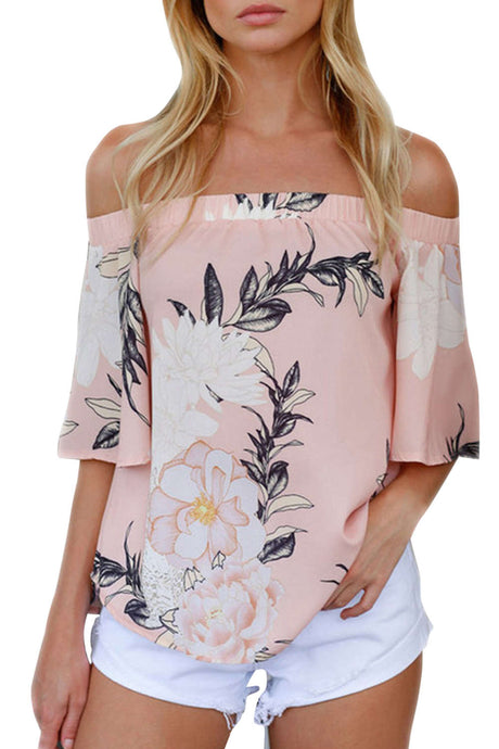 Iyasson Off Shoulder Short Sleeve Cotton Floral Top