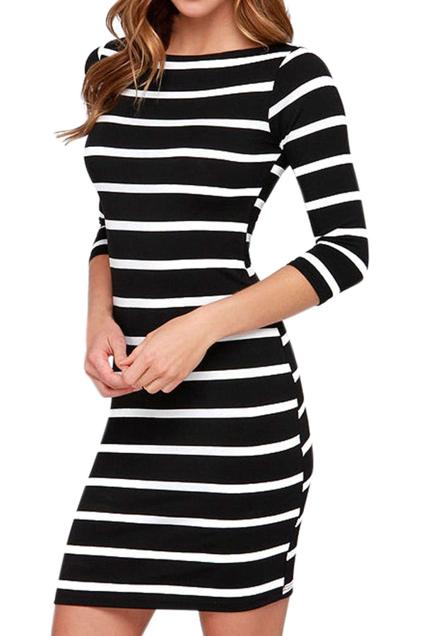 Iyasson Women's Striped Bodycon Dress