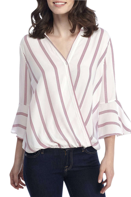 Iyasson V neck Long Sleeve Striped Casual Blouse