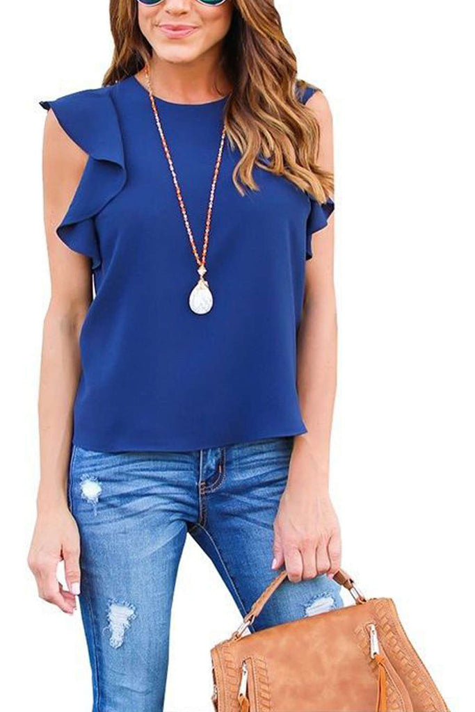 Iyasson Women Solid Ruffle Sleeveless Chiffon Casual Tee Office Lady Tops