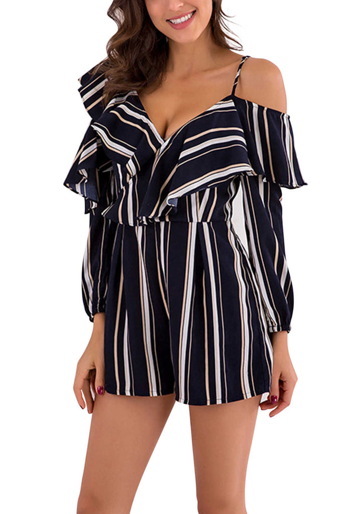 Iyasson Long Sleeve V-neck Cold-Shoulder Stripes Romper