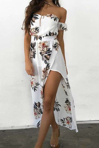Iyasson Women Off-shoulder Floral Print Holiday Maxi Dress