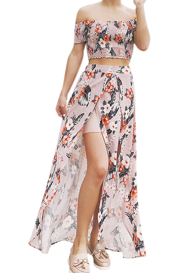 Iyasson Women's Floral Print Off-Shoulder Two Piece Maxi Dress
