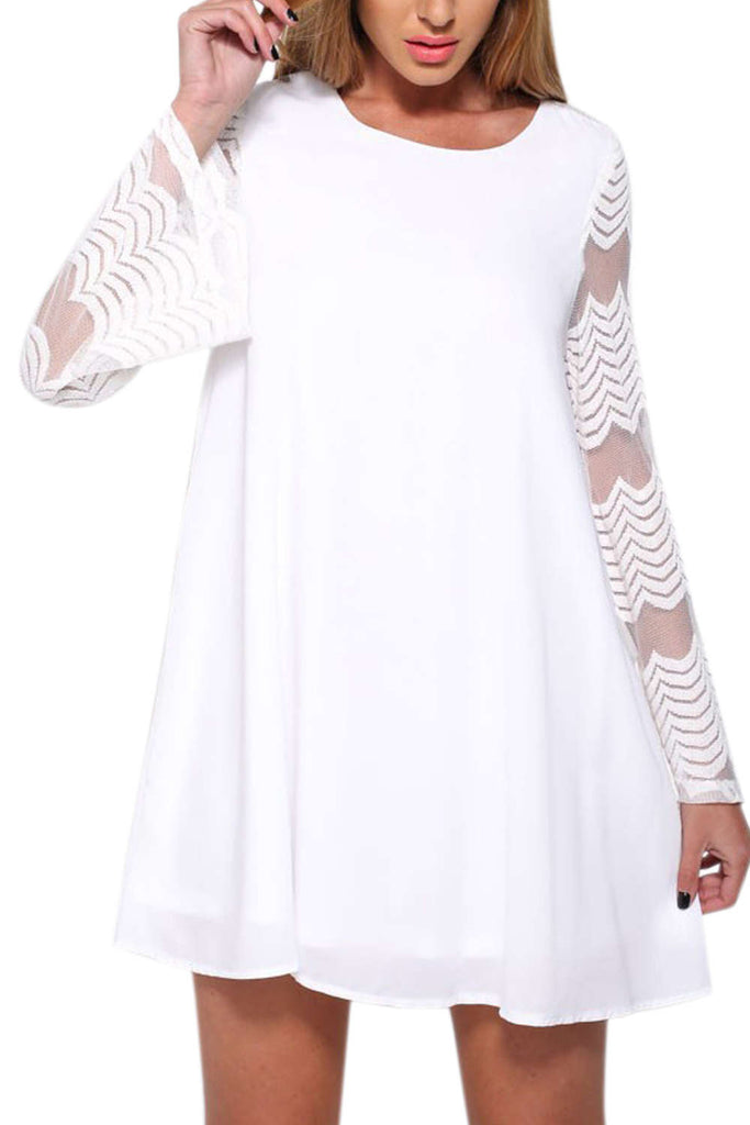 Iyasson Women Long Lace Sleeve Tent Dress