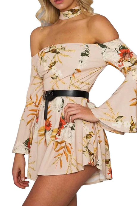 Iyasson Women Floral Print Off Shoulder Bell Sleeve Rompers