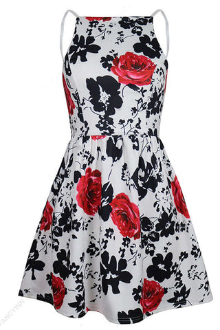 Iyasson Women Sexy Floral Sleeveless A-Line Mini Dress