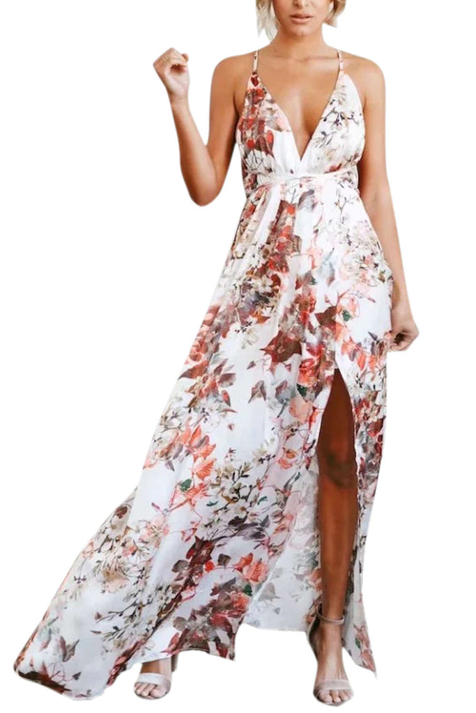 Iyasson Floral Print Deep V-neck Backless Slit Maxi Dress