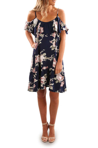 Iyasson Floral Printed Off Shoulder Ruffle Sleeves Mini Dress