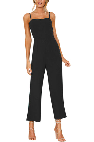Iyasson Solid Sleeveless Backless Wide Leg Sexy Jumpsuits