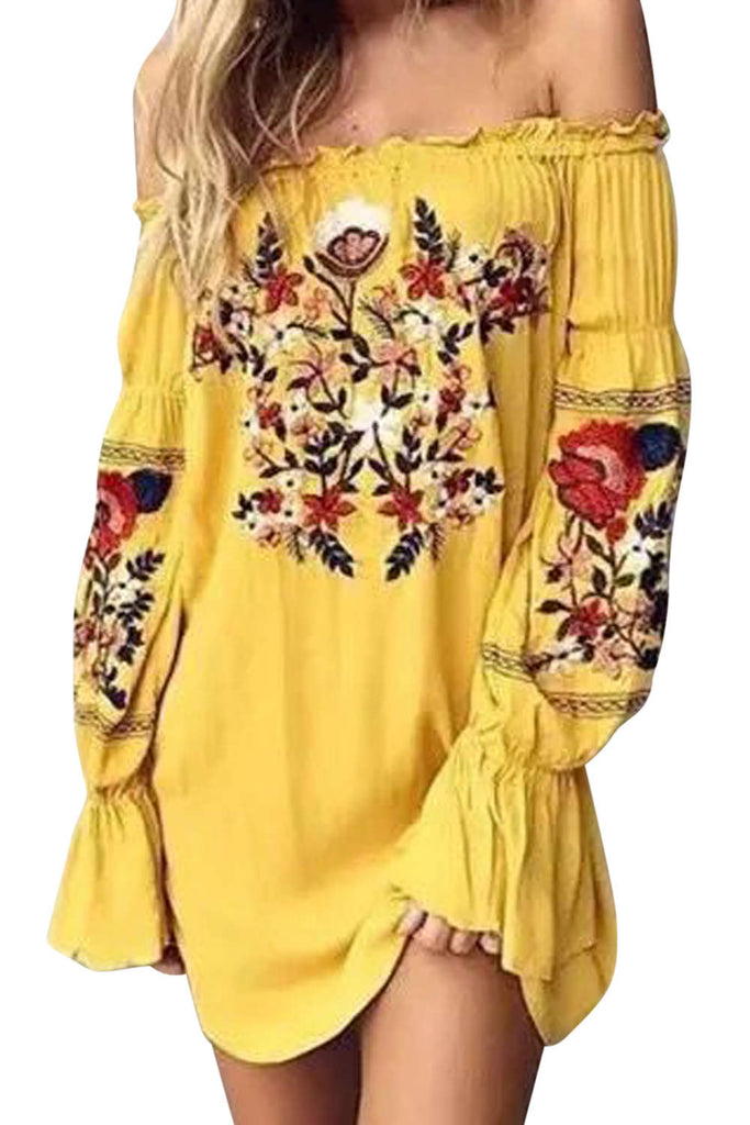 Iyasson Off Shoulder Embroidery Long Sleeves Ruffle Dress