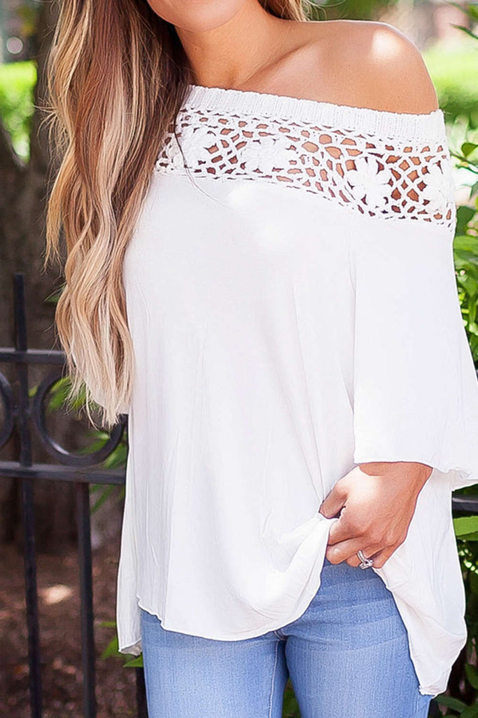 Iyasson Off Shoulder Crochet Loose Half Sleeve T-Shirt