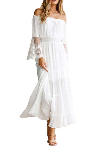 Iyasson Off Shoulder White Lace Sleeves Swing Maxi Dress