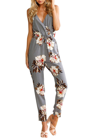 Iyasson Sleeveless Backless Floral Printed Jumpsuit