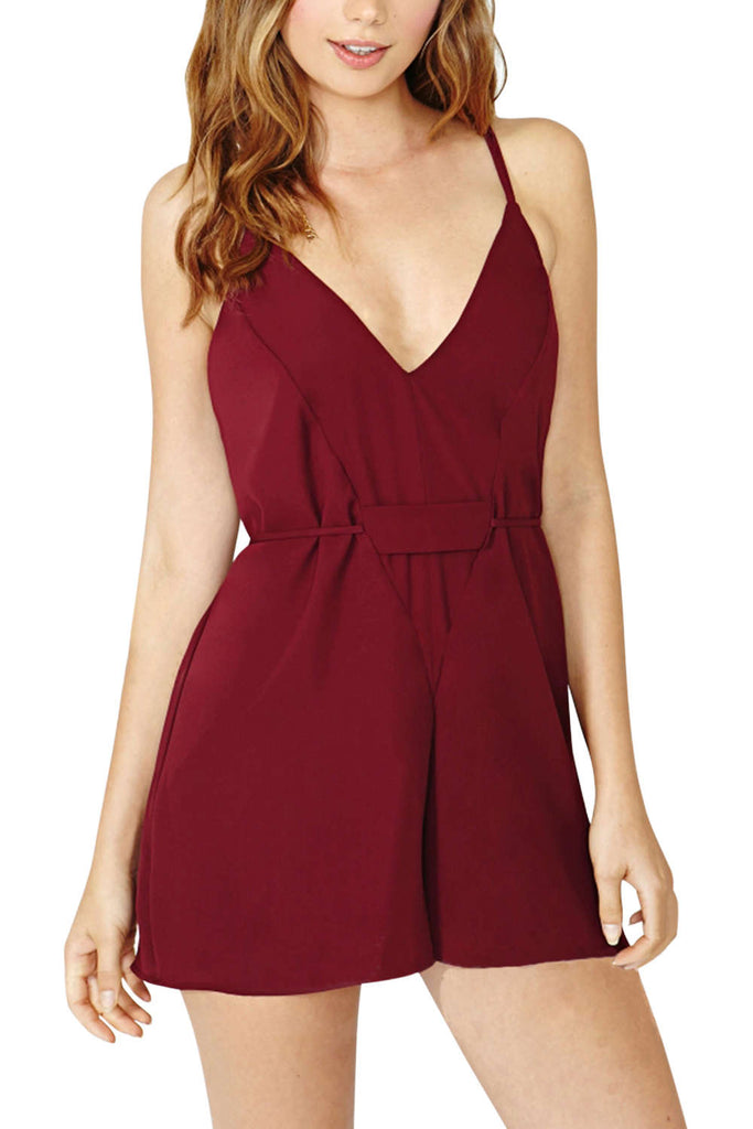 Iyasson Chiffon V-Neck Sleeveless Strap Backless Romper
