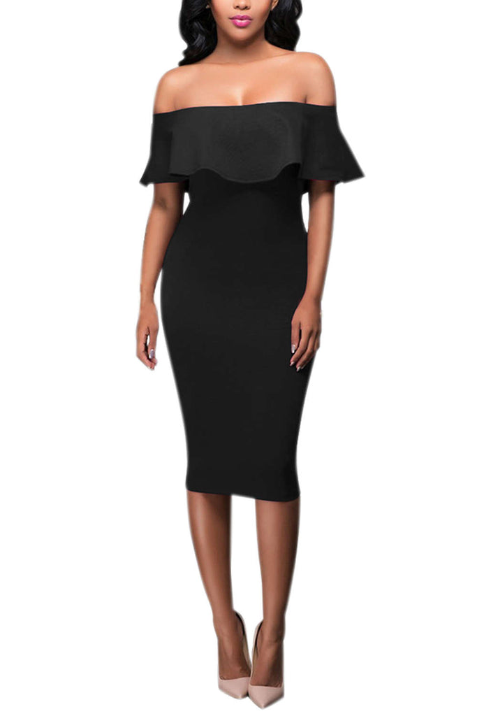 Iyasson Off Shoulder Falbala Bodycon Dress