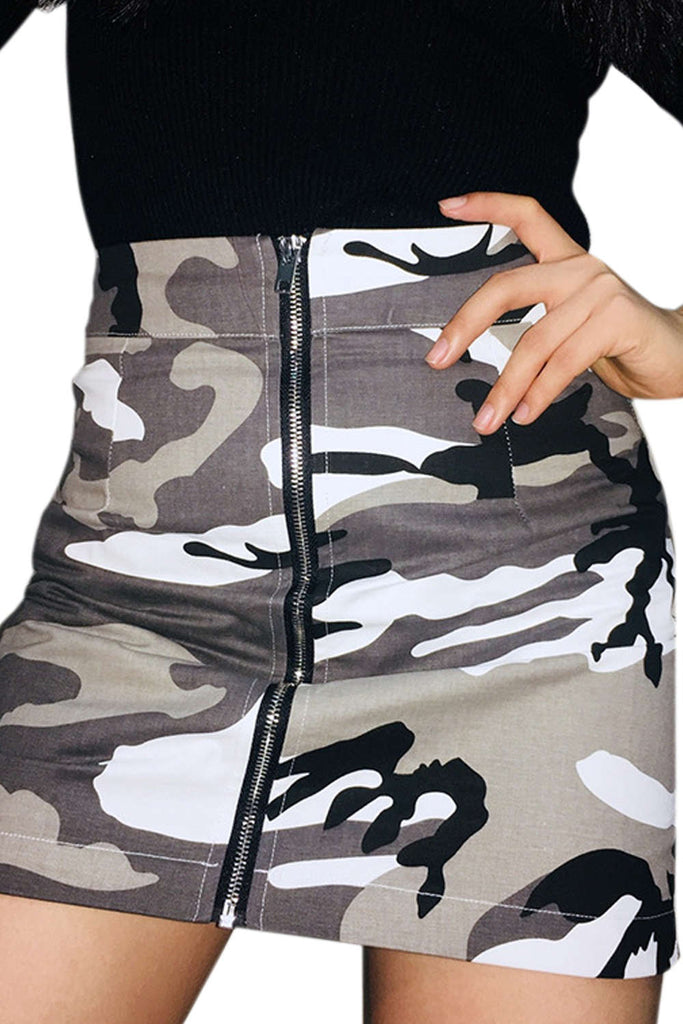 Iyasson Denim Original High Waisted Camo Skirt
