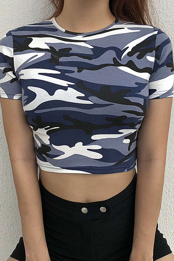 Iyasson Camo Print Open Back Crop Top